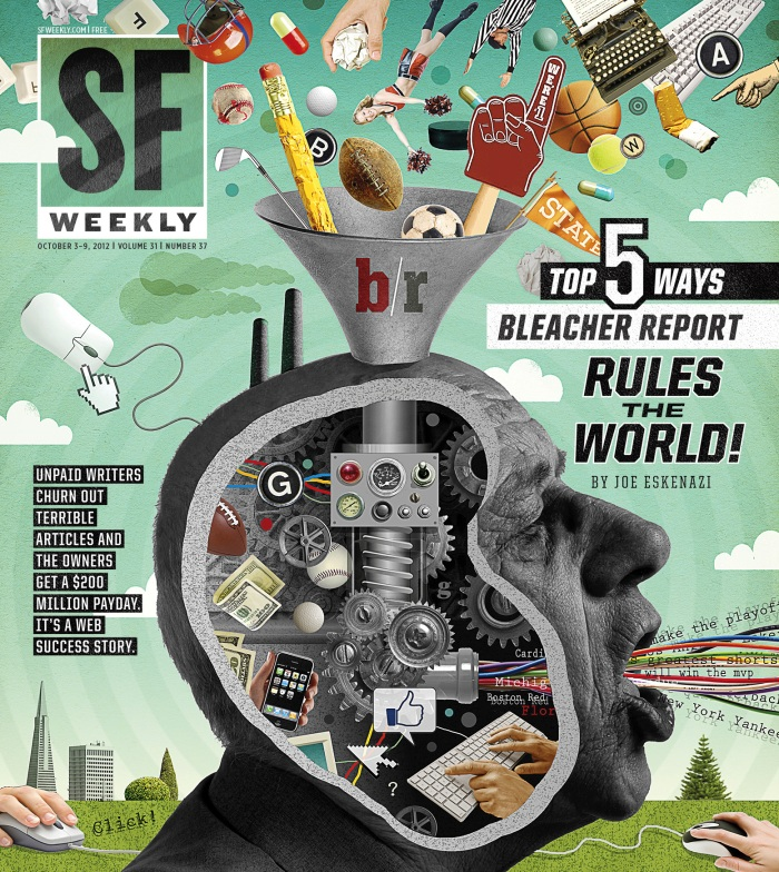 San Francisco Weekly Cover illustration for a feature about the dark side of sports website Bleacher Report.